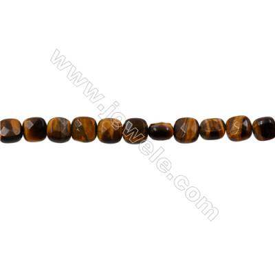 Natural Tiger's Eye Strand Beads  Square(Faceted)  Size 6x6mm  Hole 0.6mm  66 beads/strand  15-16""