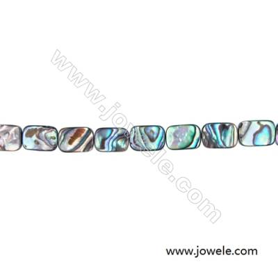 Abalone/Paua Shell Bead Strands, Rectangular, Size 10x14 mm, Hole 0.7 mm, About 28 beads/strand, 15 ~ 16""
