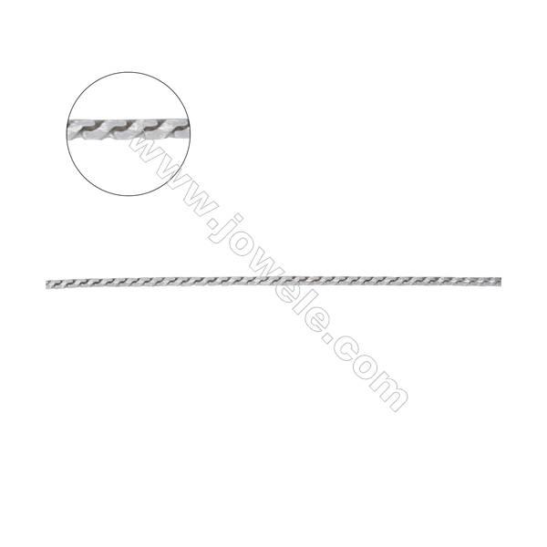 925 sterling silver square serpentine chain-E8S1 size 0.7x0.7mm