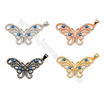 Brass Pendants  (Gold Platinum Rose Gold Gun Black)Plated  CZ Micropave  Butterfly  Size 20x31mm  5pcs/pack