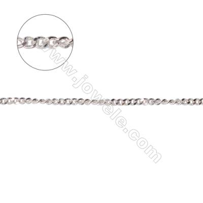 925 sterling silver curb chain necklace findings for jewelry making-A8S4  size 1.4x1.9x0.6mm