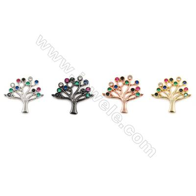 Brass Connectors, (Gold, Platinum, Rose Gold, Gun Black) Plated, Life Tree, CZ Micropave, Size 21x24mm, Hole 1mm, 12pcs/pack