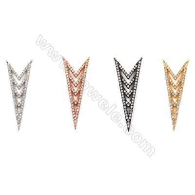 Brass Connectors, (Gold, Platinum, Rose Gold, Gun Black) Plated, Arrow Mark, CZ Micropave, Size 13x33mm, Hole 1.5mm, 12pcs/pack
