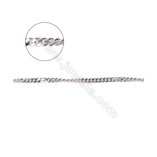 Wholesale jewelry supplies 925 sterling silver curb chain  twist chain for necklace making-A8S5 size 1.8x2.3x0.7mm
