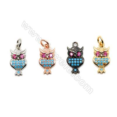 Brass Pendants  (Gold Platinum Rose Gold Gun Black)Plated  CZ Micropave  Owl  Size 8x13mm  15pcs/pack