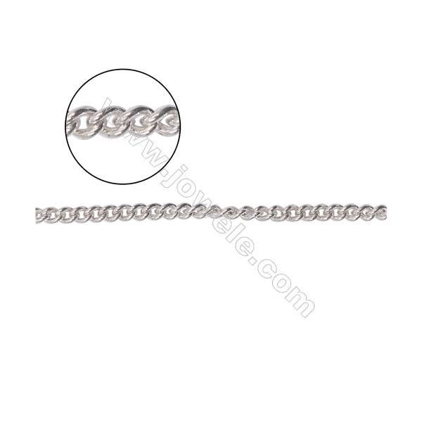 Jewellery findings 925 sterling silver curb chain  twist chain for necklace making-A8S7  size 1.8x2.4mm