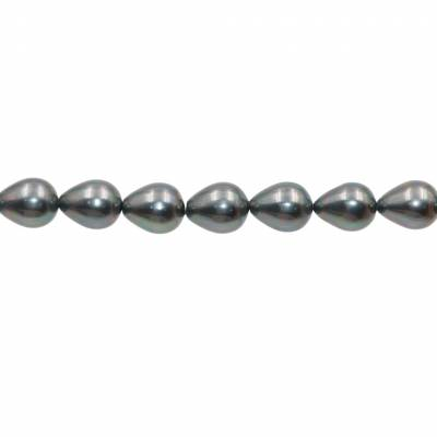 """Shell Pearl Teardrop Beads Strand  Gray (Plating)   Size 10x13mm  Hole 0.8mm  30beads/strand  15~16"""""""