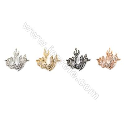 Brass Connectors, (Gold, Platinum, Rose Gold, Gun Black) Plated, Volcanic, CZ Micropave, Size 15x18mm, Hole 1mm, 15pcs/pack
