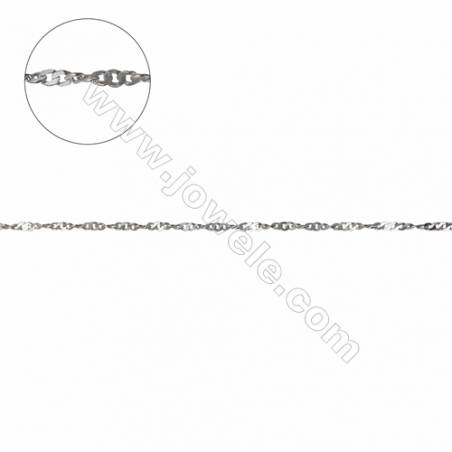 Top quality 925 sterling silver water wave Singapore necklace chains  twisted chain-G8S13  size 1.1x1.3x0.25mm