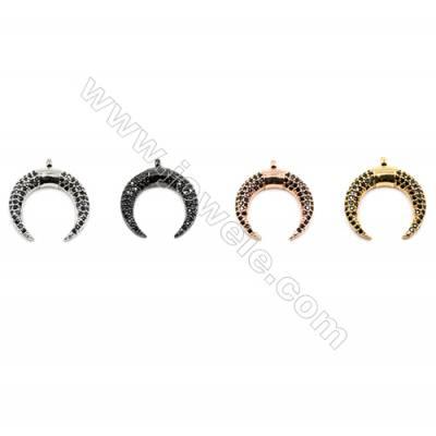 Brass Pendants  (Gold Platinum Rose Gold Gun Black)Plated  CZ Micropave  Moon  Size 15x17mm  12pcs/pack