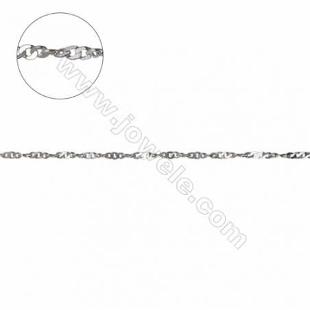 Top quality 925 sterling silver water wave Singapore necklace chains  twisted chain-G8S14  size 1.1x1.4x0.27mm