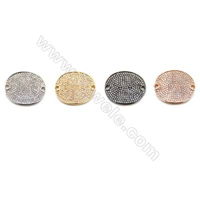 Brass Little Charms  (Gold Platinum Rose Gold Gun Black) Plated  CZ Micropave  Coins  Size 20x24mm  Hole 2mm  4pcs/pack