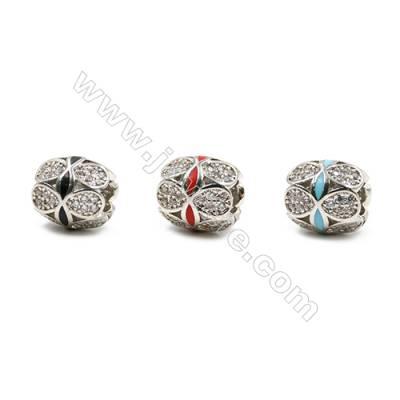 Brass Grand Hole Beads, Platinum, CZ Micropave, Oval, Size 10x9mm, Hole 4mm, 12pcs/pack