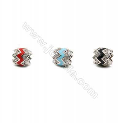 Brass Grand Hole Beads, Platinum, CZ Micropave, Oval, Size 10x9mm, Hole 5mm, 12pcs/pack