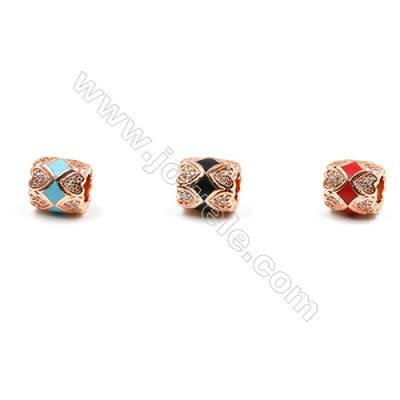 Brass Grand Hole Beads, Rose Gold, CZ Micropave, Oval, Size 10x9mm, Hole 4.5mm, 12pcs/pack
