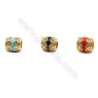 Brass Grand Hole Beads  Gold  CZ Micropave  Oval  Size 10x9mm Hole 4.5mm 12pcs/pack