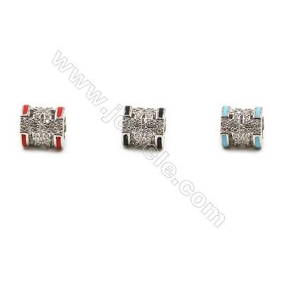 Brass Grand Hole Beads, Platinum, CZ Micropave, Column, Size 9x9mm, Hole 5mm, 12pcs/pack