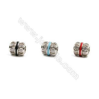 Brass Grand Hole Beads, Platinum, CZ Micropave, Hollow Lantern, Size 10x9mm, Hole 4mm, 12pcs/pack