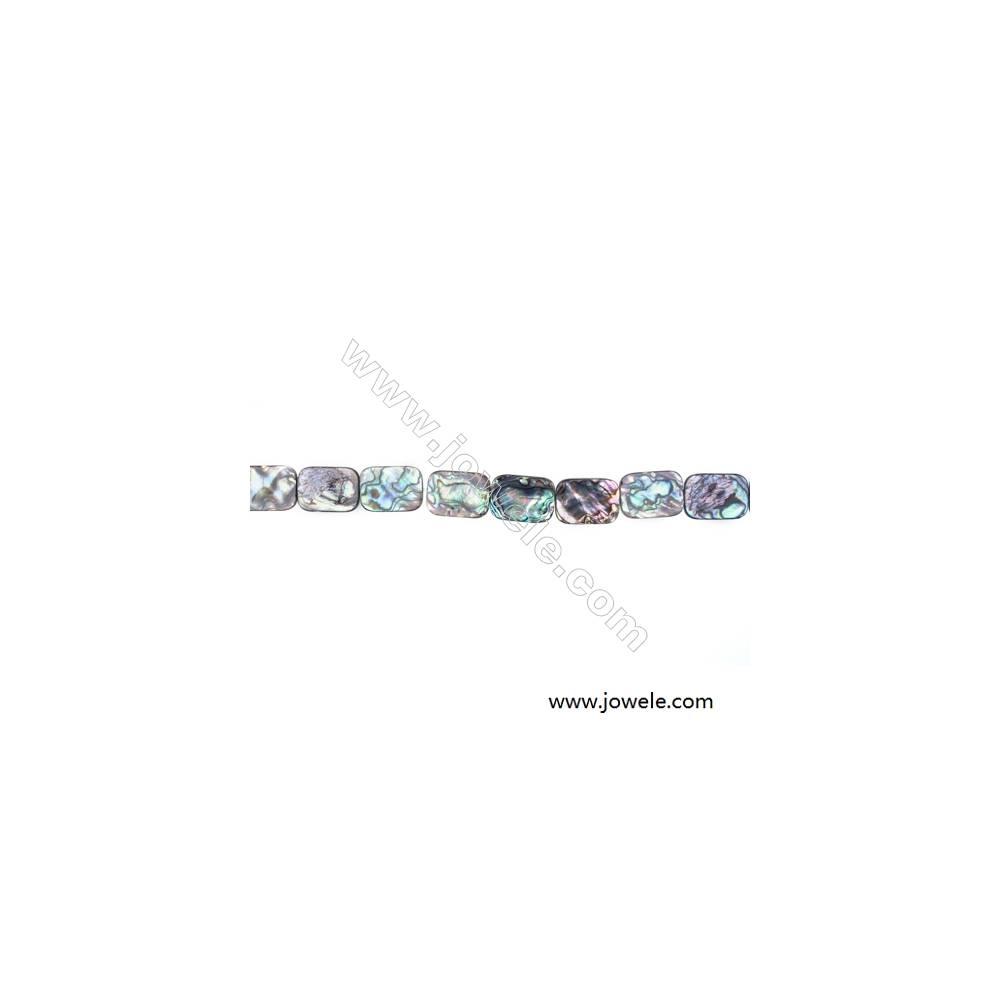 Abalone/Paua Shell Bead Strand, Rectangular, Size 18x25 mm, Hole 0.8 mm, About 16 beads/strand, 15 ~ 16 ''