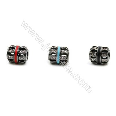 Brass Grand Hole Beads, Gun Black, CZ Micropave, Hollow Lantern, Size 10x9mm, Hole 4mm, 12pcs/pack