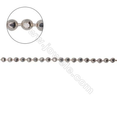 Wholesale high quality 925 sterling silver faceted ball chains necklace chain-B8S3   size 2mm     x 1m