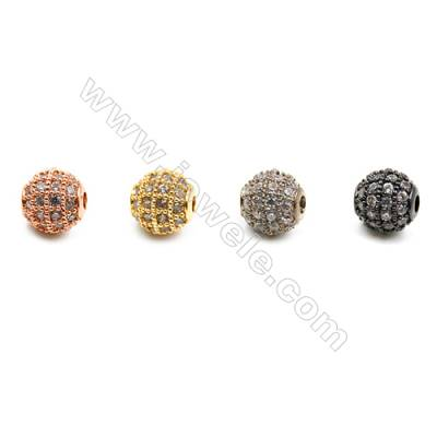Brass Beads, (Gold, Platinum, Rose Gold, Gun Black)Plated, Round, CZ Micropave, Diameter 6mm, Hole 1mm, 12pcs/pack