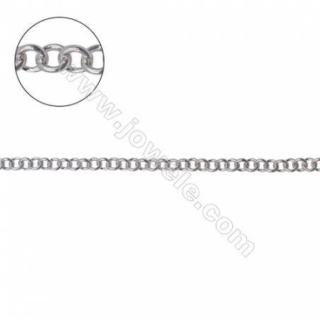 High quality 925 sterling silver Rolo round chain for necklace bracelet making-B8S14 size 2x0.4mm