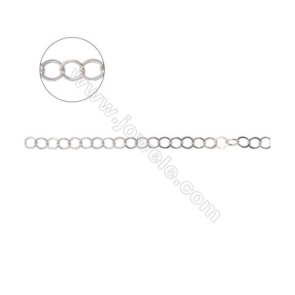 925 sterling silver flat cable chain  flat rolo chain-B8S9  size 3.5x0.4mm X 1meter