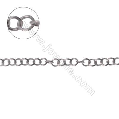 925 sterling silver flat cable chain  flat rolo chain-B8S10 size 4x0.65mm x 1 meter