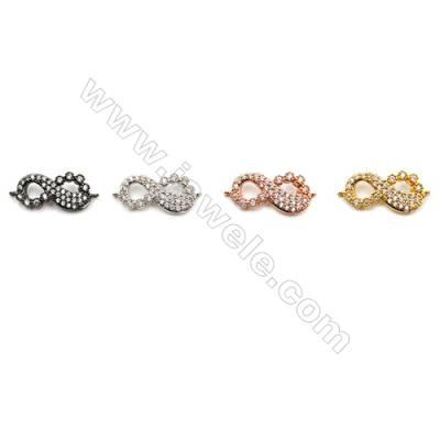 Brass Connectors, (Gold, Platinum, Rose Gold, Gun Black) Plated, Figure 8, CZ Micropave, Size 16x8mm, Hole 0.8mm, 15pcs/pack