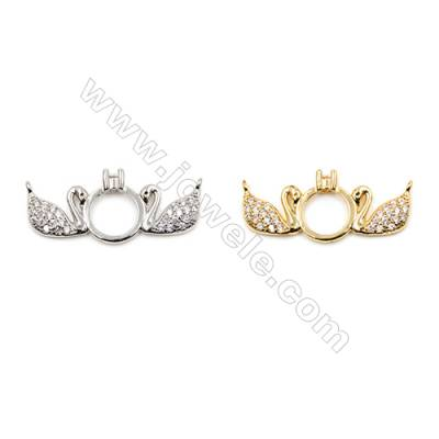 Brass Connectors, (Gold, Platinum) Plated, Swan, CZ Micropave, Size 11x25mm, Hole 0.8mm, 15pcs/pack