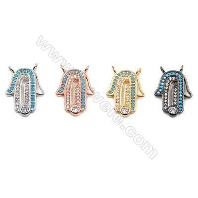 Brass Connectors, (Gold, Platinum, Rose Gold, Gun Black) Plated, Hand, CZ Micropave, Size 12x15mm, Hole 1.5mm, 12pcs/pack