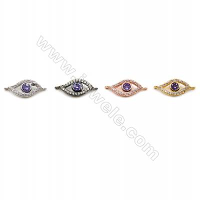 Brass Connectors, (Gold, Platinum, Rose Gold, Gun Black) Plated, Eyes, CZ Micropave, Size 8x15mm, Hole 1mm, 15pcs/pack