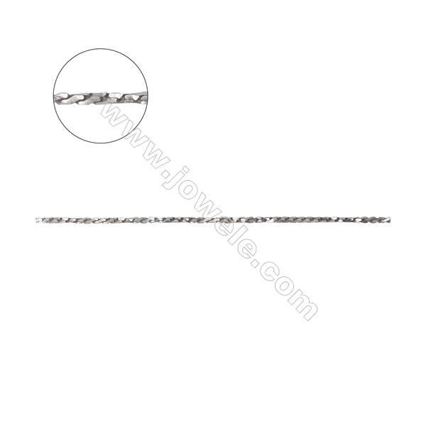 925 sterling silver square serpentine chain twist chain -D8S10 size 0.7x0.7mm