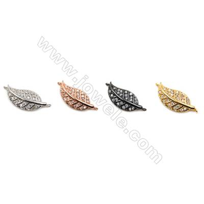 Brass Connectors, (Gold, Platinum, Rose Gold, Gun Black) Plated, Leaves, CZ Micropave, Size 8x17mm, Hole 0.8mm, 20pcs/pack