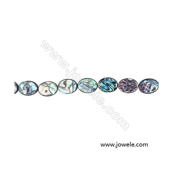 Abalone/Paua Shell Bead Strands, Oval, Size 15x20mm, Hole 0.7 mm, About 20 beads/strand, 15 ~ 16 ''