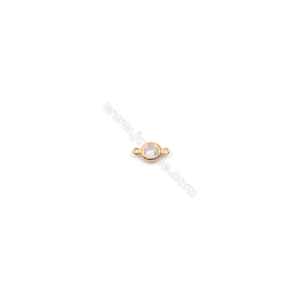 Wholesale gold plated 925 silver zircon micro pave bracelet necklace connector for jewelry making-820529 5mm x 1pc hole 0.8mm