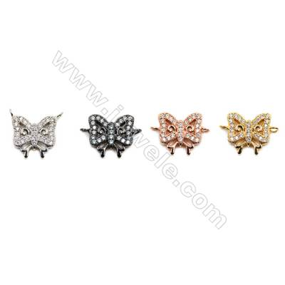 Brass Connectors, (Gold, Platinum, Rose Gold, Gun Black) Plated, Butterfly, CZ Micropave, Size 13x13mm, Hole 1.5mm, 15pcs/pack