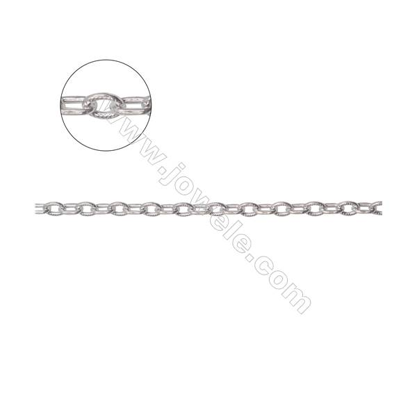 925 sterling silver textured cable link chain-B8S8  size 1.9x3.8x0.6mm x 1 meter