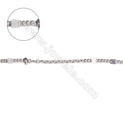925 sterling silver flat figure 8 chain cross chain curb chain-B8S7  size: curb 1.6x2mm  cross 1.9x2x0.45mm X 1meter