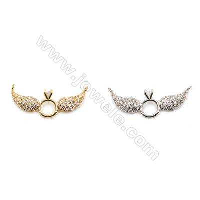 Brass Connectors, (Gold, Platinum) Plated, Wing, CZ Micropave, Size 11x27mm, Hole 1mm, 12pcs/pack