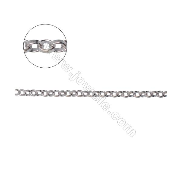 Vintage style 925 sterling silver loop link chains findings fashion jewelry-B8S16  size 2.5x2.7x0.8mm