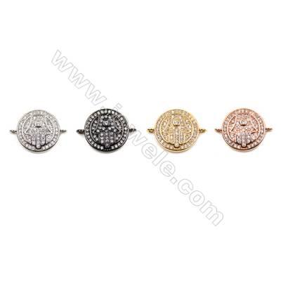 Brass Connectors, (Gold, Platinum, Rose Gold, Gun Black) Plated, Round, CZ Micropave, Diameter 15mm, Hole 1mm, 15pcs/pack