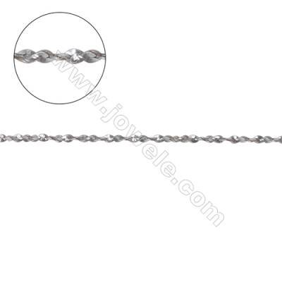 925 sterling silver twisted serpentine chain-C8S7 size 0.7x1.3mm