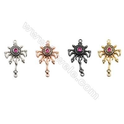 Brass Connectors, (Gold, Platinum, Rose Gold, Gun Black) Plated, Totem, CZ Micropave, Size 25x18mm, Hole 1.5mm, 15pcs/pack