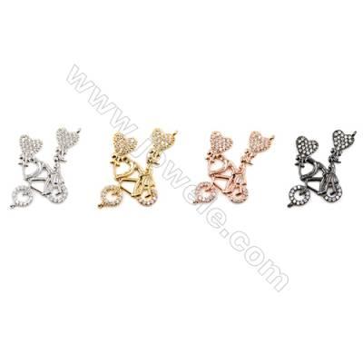 Brass Connectors, Couple & Bike, CZ Micropave, Size 22x17mm, Hole 0.8mm, 15pcs/pack