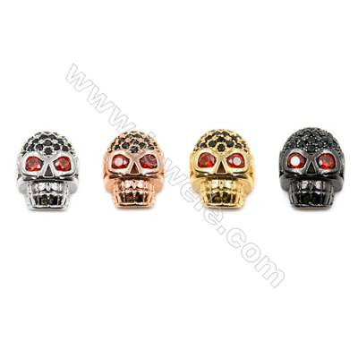 Brass Little Charms  (Gold Platinum Rose Gold Gun Black) Plated  CZ Micropave  Skull  Size 9x13mm  Hole 2.3mm  15pcs/pack