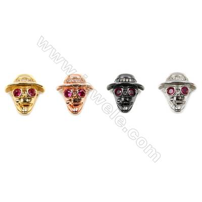Brass Little Charms  (Gold Platinum Rose Gold Gun Black) Plated  CZ Micropave  Skull cowboy Size 14x15mm Hole 1.2mm  20pcs/pack