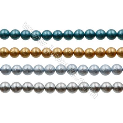 Multicolor Shell Pearl Bead Strands  Round(Frosted)  Diameter 6mm  Hole 0.6mm  66 beads/strand 15~16""