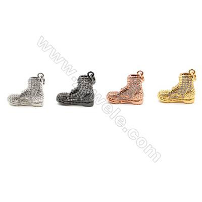 Brass Pendants  (Gold Platinum Rose Gold Gun Black)Plated  CZ Micropave  Boots  Size 18x7mm  10pcs/pack